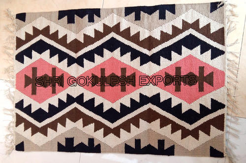 Rectangle Woven Flatweave Cotton Area Rugs