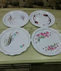 Fiber White Plastic Printed Catering Dish, Packaging Type: Packet, Round