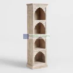 Antique Carved Solid Wood Bookcase Bookshelf Cabinet Living Room Home Furniture
