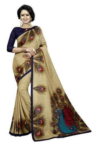 Malgudi Silk Printed Saree, Length: 6.3 m