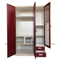 Red And White Godrej Steel Wardrobe Almirah