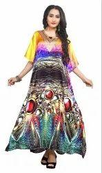 Multi Color Digital Printed Satin Silk Kaftan
