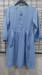 Girls Blue Front Tie Dress