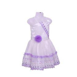 Tissue and Net Fabric White And Purple Girls Party Wear Frock, Size: 16-22