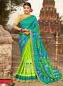 Light Green Wedding Wear Bandhani Printed Designer Sarees