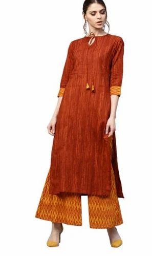 bb2cc39b72 Gerua Brown And Mustard Cotton Kurta With Palazzo - Jagdamba Fashion ...