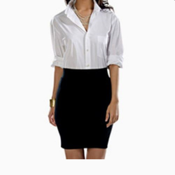 Ladies Cotton Black and White Formal Wear