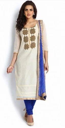 1e7cb78dba White And Royal Blue Chanderi Suit Set, Chanderi Salwar Kameez ...
