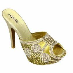 Golden Peep Toe Heel Sandals