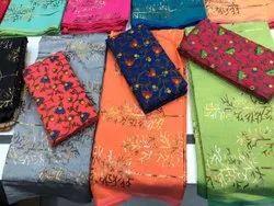 Printed Blue Sanskar Morni, With blouse piece, 5.5 m (separate blouse piece)