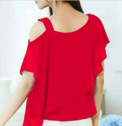 c6beb998689f77 S M L Xl Xxl Red Women Solid Color Off Shoulder Off Top
