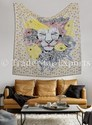 Yellow Cotton Lion Wall Hanging Tapestry