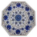 White Marble Inlay Flower Design Dining Table Tops