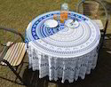 Cotton Round Boho Table Cover with Pom Pom Lace Floral Printed Handmade Table Cover