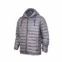 Mens Down Hood Printed Jacket  Dark Grey