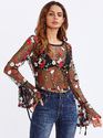 SHEIN Tied Bell Cuff Botanical Embroidered Mesh Top