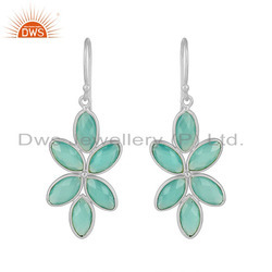 Floral Design Fine Silver Aqua Chalcedony Gemstone Dangle Earrings Jewelry