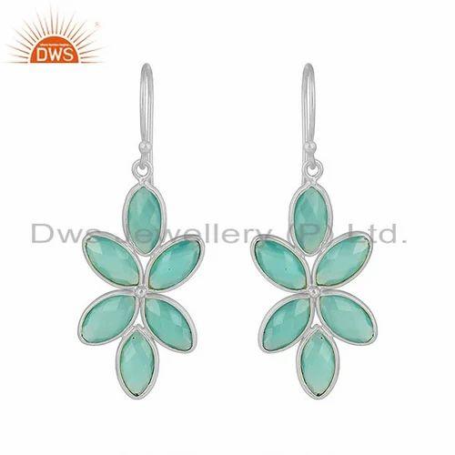 04c33f0c3 Floral Design 925 Fine Silver Aqua Chalcedony Gemstone Earrings Jewelry