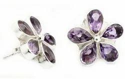 Amethyst Stud Earrings Jewelry