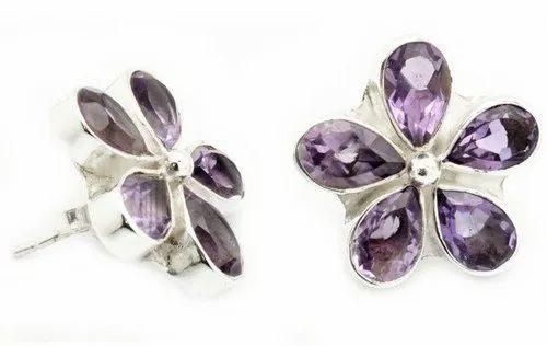 6190c1e58 Amethyst Stud Earrings Jewelry, एमेथिस्ट इयररिंग ...