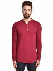 Pause Maroon Solid Cotton Mandarin Slim Fit Full Sleeve Mens Knitted T-Shirt