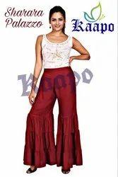 Stitched Fancy Sharara Palazzo, High Flair, Size: 36 Waist