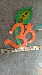 Om Leaf with Glass Pieces