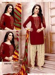 Semi-Stitched Multicolor Designer Patiyala Dress