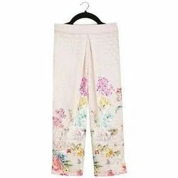 Cotton Blend Party Wear Kids Girls Pink Embroidered Pants, Packaging Type: Packet