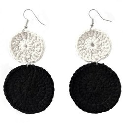 Black White Crochet Earring