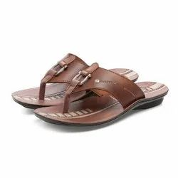 Mens Tan Casual PU Slippers