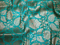 Sea Green Silk Brocade Fabric In And Gold Weaving