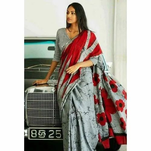 1f9757ab33 Casual Wear Fancy Cotton Mulmul Batik Printed Saree With Blouse, Rs ...