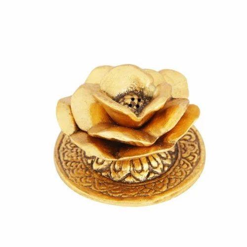 Handicrafts Paradise Golden Marble Flower Shaped Incense Holder Rs