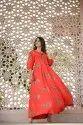 Rayon Orange Printed Gown