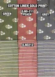 Cotton Linen Gold Print Fabric