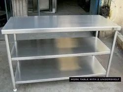 Stainless Steel Work Table With Two UnderSelf