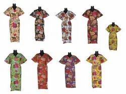 Floral Printed Cotton Caftan Dress