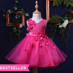 Cute Flowers Applique Party Dress - Fuschia