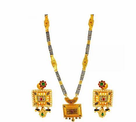 Rajwada Design 22kt Gold Mangalsutra And Earring Set