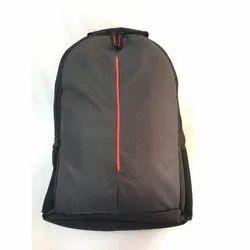 Plain PU Coated Nylon Black College Backpack
