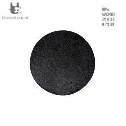 Paper Mache Place Mat  - Grey Black, Stone Finish