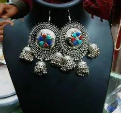 German Silver Round Fashion Earrings
