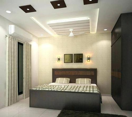 BS Interior White And Brown Bedroom False Ceiling