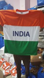 Polyester Orange, White and Green Tiranga T Shirt