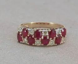 Ruby and Diamond Ring Half Band