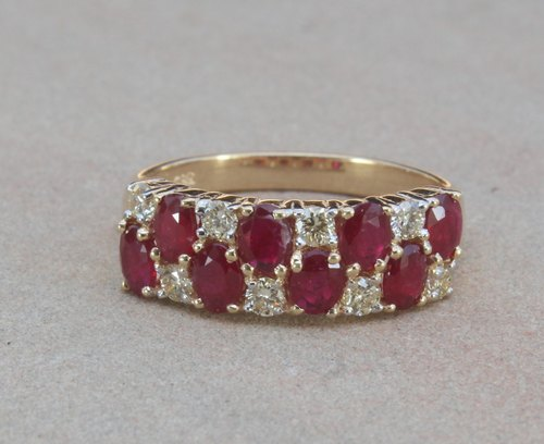 Ruby and Diamond Ring Half Band Ring