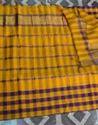 Blue And Yellow Pure Mangalagiri Cotton Saree