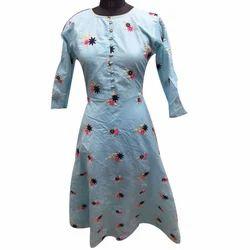 Ladies Chanderi Stylish Kurti, Size: XL