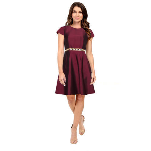 9fa1b21b0 Taffeta Silk Round Neck Maroon Designer Dress, Rs 399 /piece | ID ...